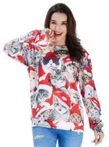 pull de Noël pour femme avec des chatons