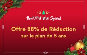Promo de Noël : 88% de réduction chez PureVPN!