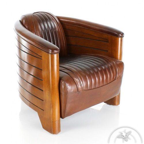 Fauteuil club cuir marron vintage - Pirogue
