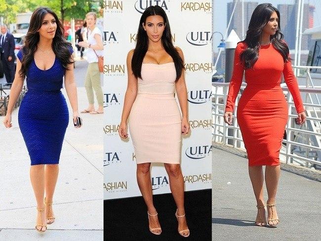 La robe fourreau est adaptée à la taille marquée de Kim Kardashian