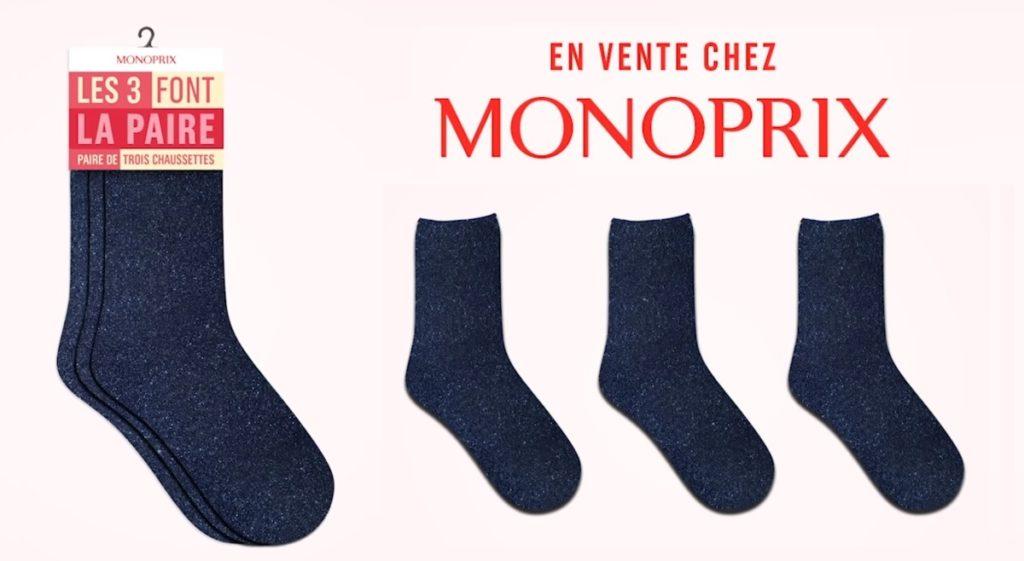 Monoprix : paire de 3 chaussettes