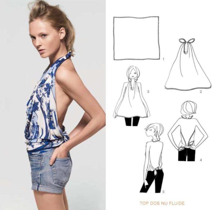 pliage : transformer un grand foulard en top dos nu