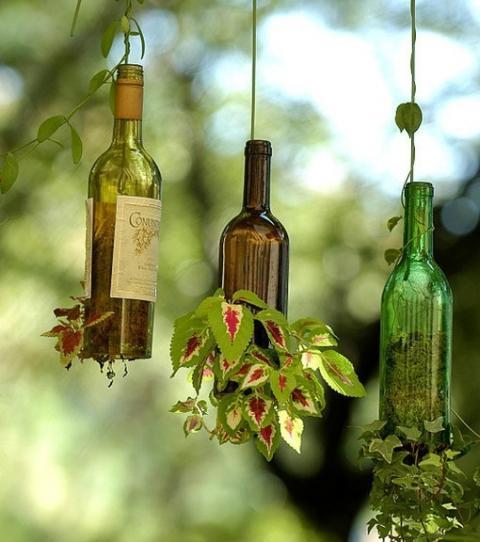 Réutiliser des bouteilles de vin pour faire des pots de fleurs