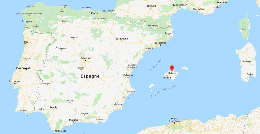 carte de Majorque dans les Bléares