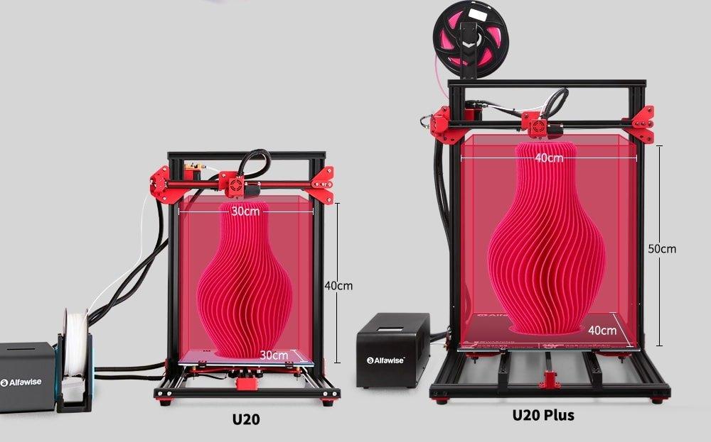 comparaison de taille des imprimantes 3D alfawise u20 et u20 plus