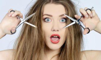 femme aux cheveux secs et abîmés
