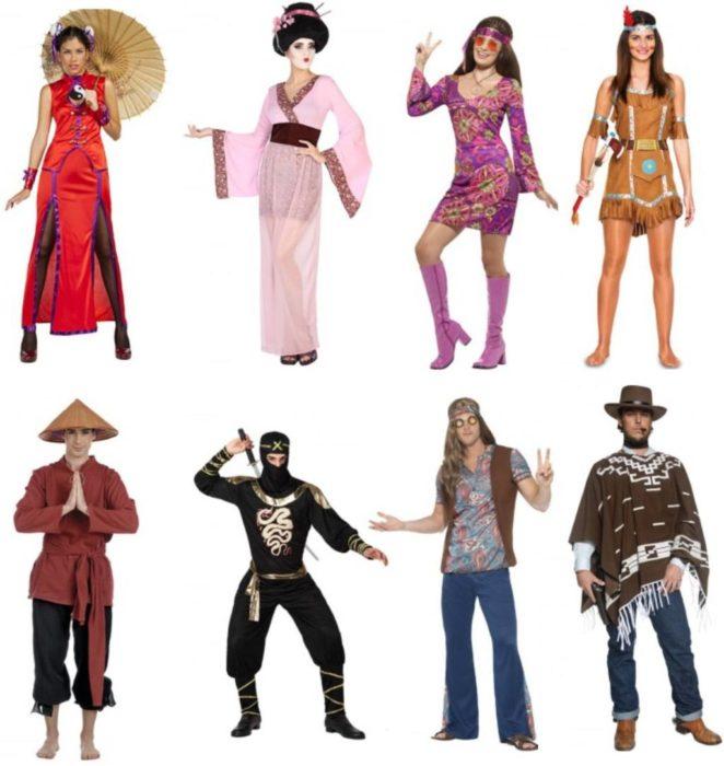 idées de déguisements asitique, baba cool, ou indien et cowboy