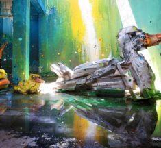 Street Art : il créé des animaux géants en déchets et c'est trop beau