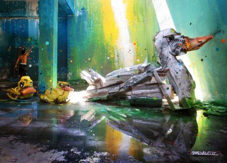 Sculpture de canard en déchets