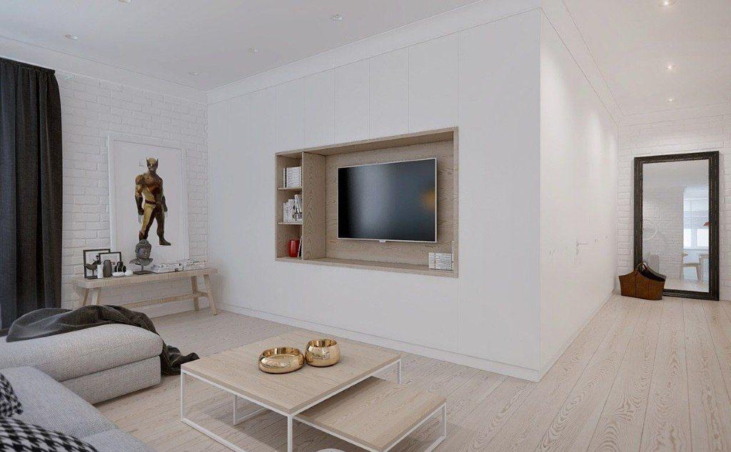 déco de salon avec une niche pour la télé