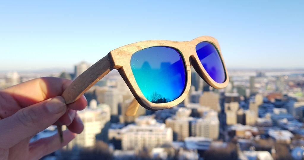 lunettes de soleil en bois de bambou classique