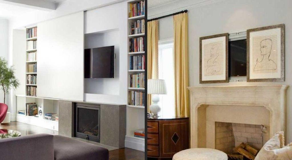meuble télé cachée dans une porte coulissante