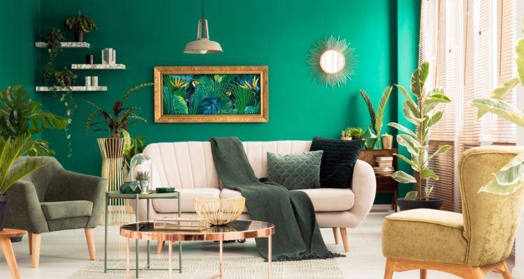 Mur de couleurs tranchée vert céladon.