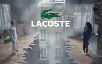 Acteurs et musique de la pub Lacoste 2019 avec un immeuble qui s'effondre