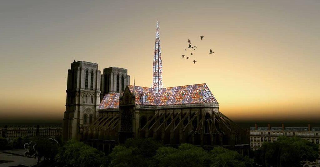 Reconstruction moderne de Notre-Dame de Paris avec du vitrail : AJ6 Studio