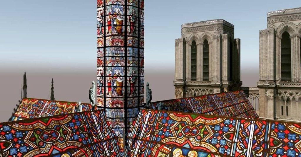 Reconstruction moderne de Notre-Dame de Paris avec du vitrail : AJ6 Studio - 02
