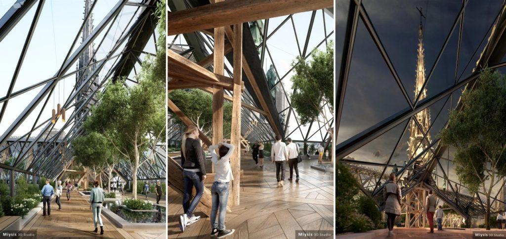"""Reconstruction moderne de Notre-Dame de Paris : proposition de Miysis """"la forêt"""""""