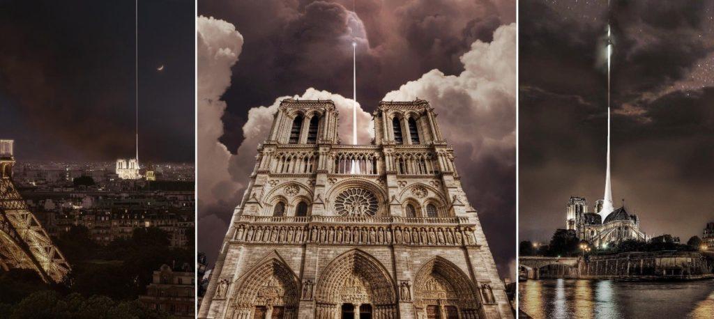 Reconstruction moderne de Notre-Dame de Paris : Vizum Atelier, une flèche fine surplombée d'un faisceau de lumière
