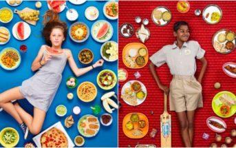 Il photographie des enfants du monde entier entourés des plats qu'ils mangent chaque semaine