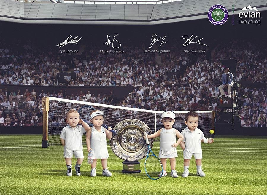 Pub affichage Bébés Evian 2019 : tennis