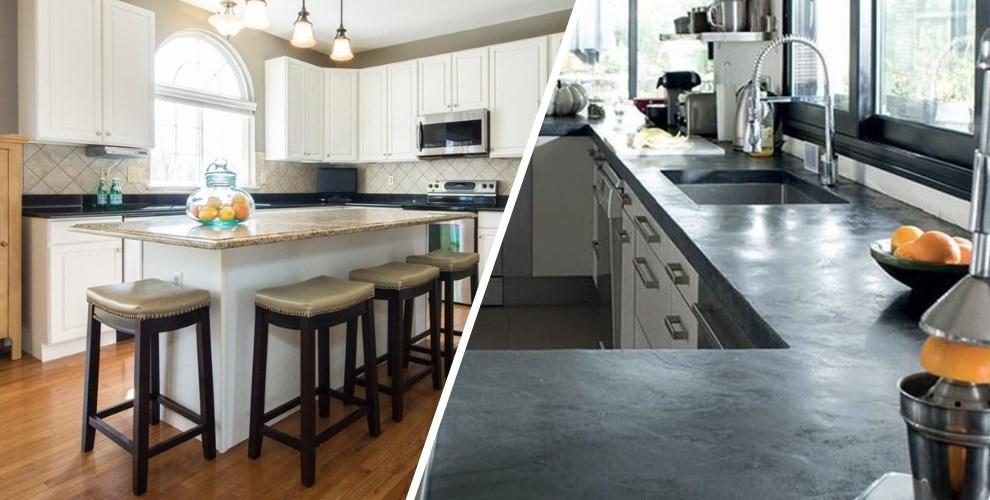 home staging cuisine : plan de travail avec du marbre ou du béton ciré