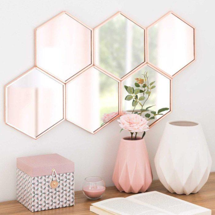 idée déco avec des miroirs géométriques