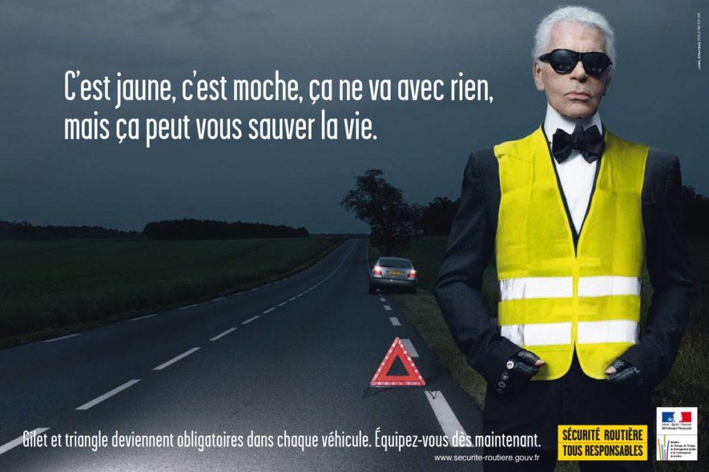 Gilet jaune et sécurité routière - la pub avec Karl Lagerfeld