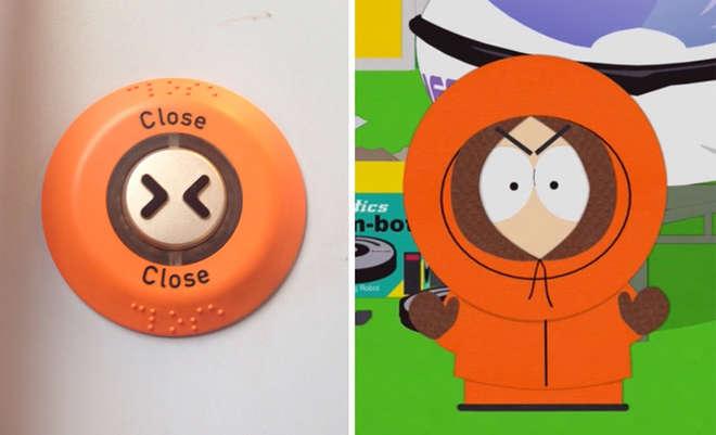bouton qui ressemble à Kenny de South Park