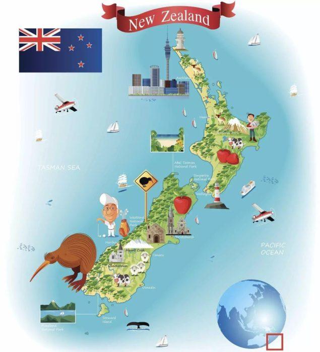carte en dessin animé de la Nouvelle Zélande