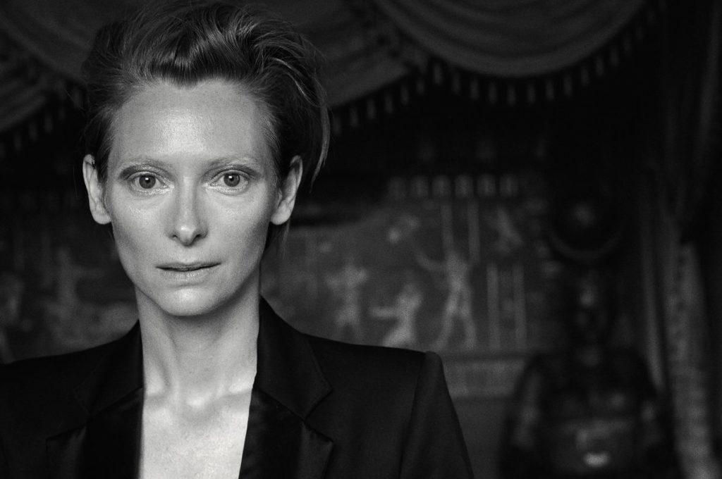 Portrait noir et blanc de Cate Blanchett