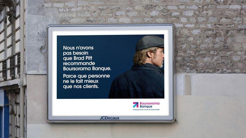 Affiche de la pub Boursorama Banque avec Brad Pitt