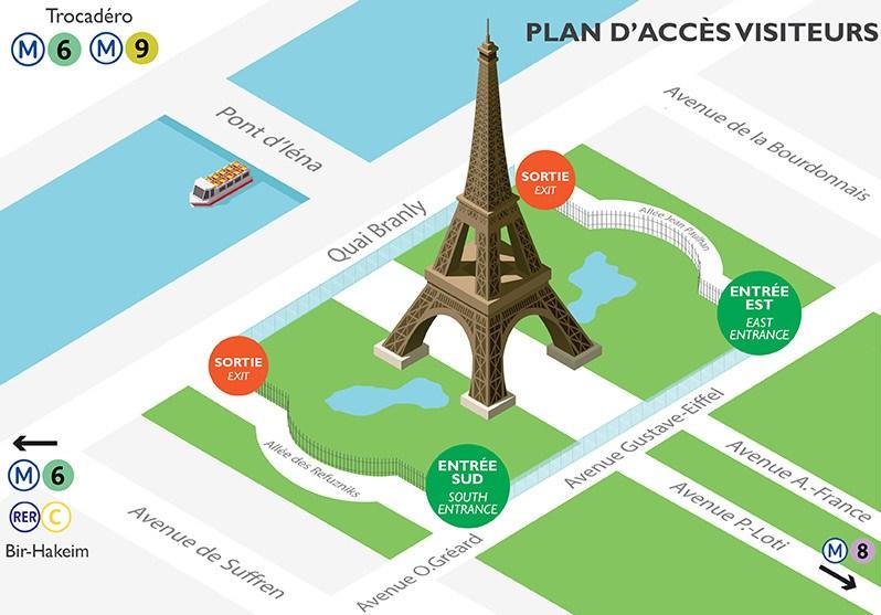 plan d'accès visiteurs à la Tour Eiffel