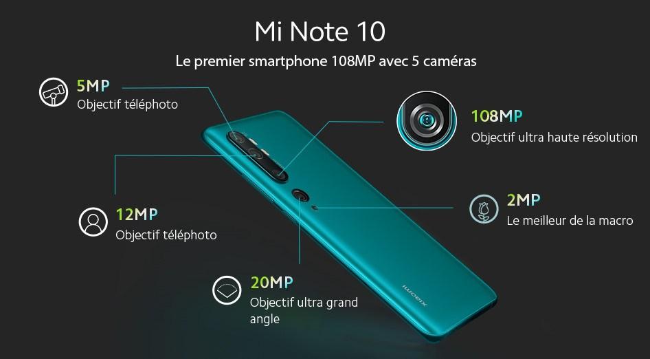 Xiaomi Mi Note 10 : 5 caméras