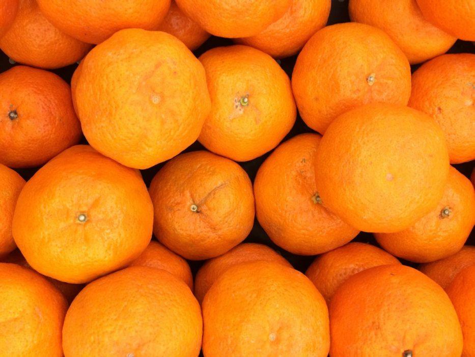 Des oranges vues de dessus.