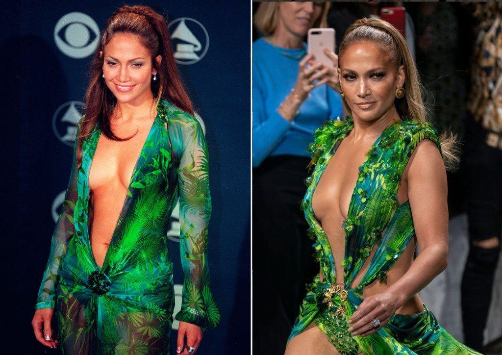 Jennifer Lopez de retour 20 ans plus tard dans sa robe Jungle lors du défile Versache