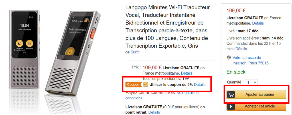 coupon amazon langogo minutes - 01