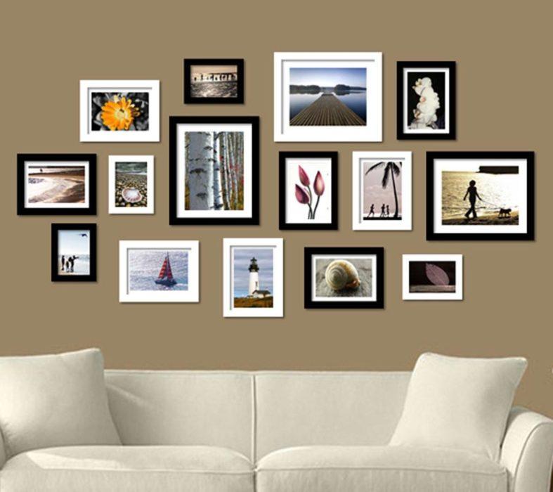 déco : mur de cadres photo