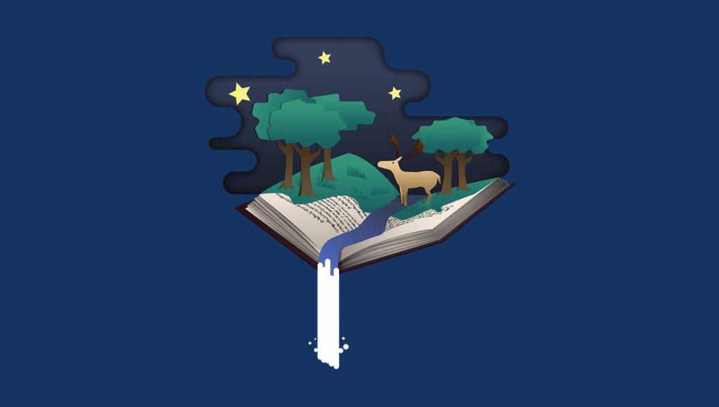 Illustration représentant un livre ouvert avec une foret dessus et une rivière à la pliure de pages