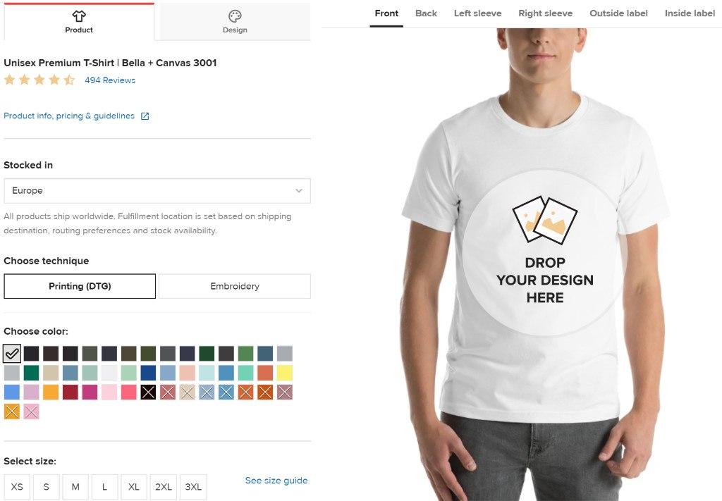"t-shirt ""print on demand"" sur shopify"
