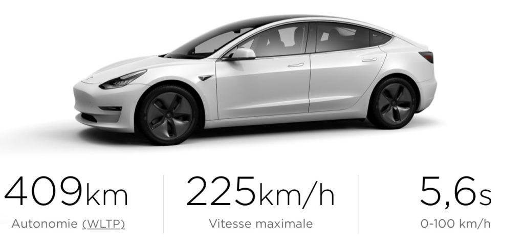 tesla model 3 : spécifications