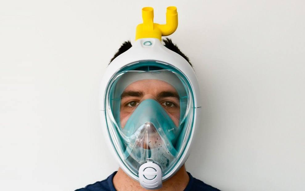 respirateur artificiel médical fait avec un masque decathlon