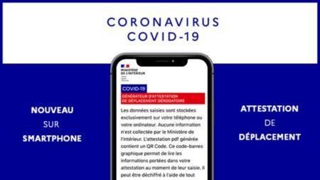 coronavirus covid19 attestation de déplacement mobile
