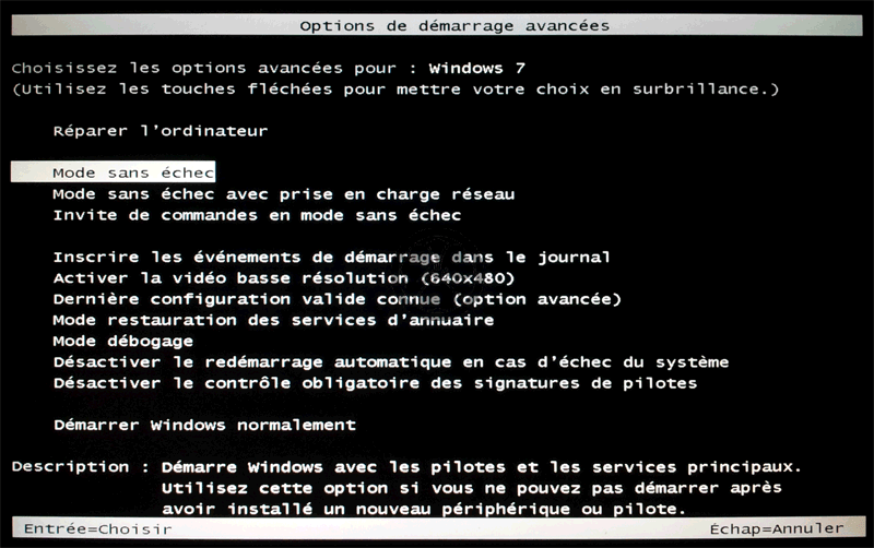 démarrer Windows en mode sans échec