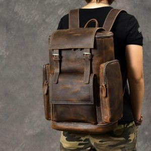 sac à dos vintage multi poches en cuir
