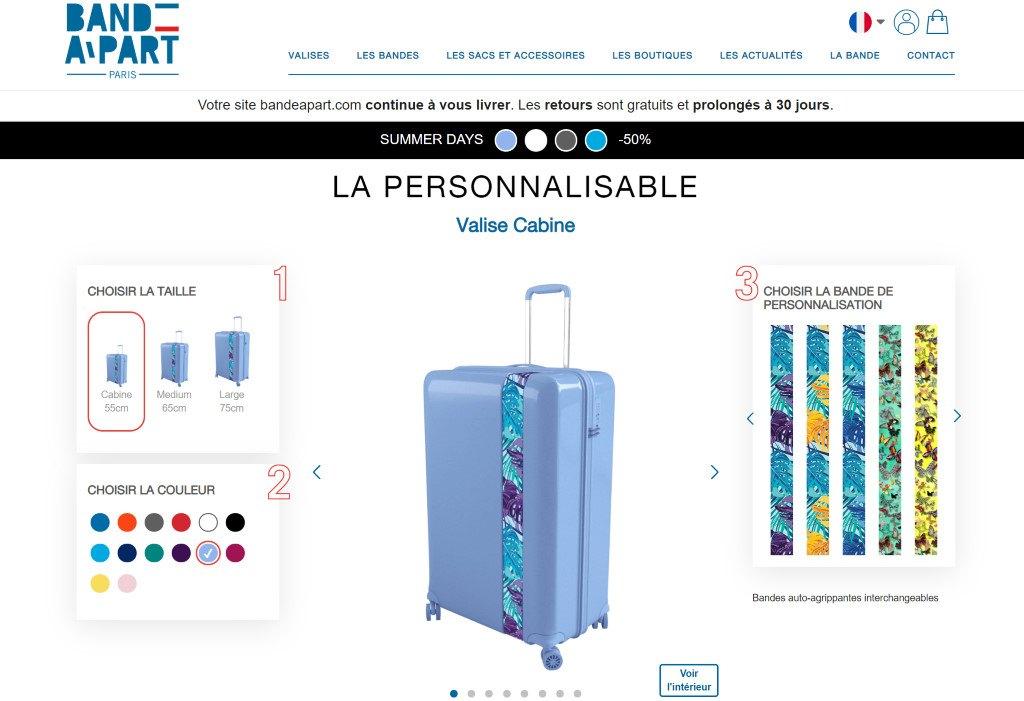 configurateur de valise personnalisée bande à part