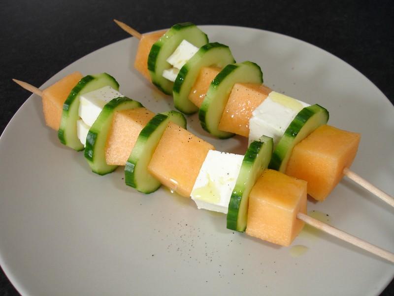Brochette de saison concombre et melon