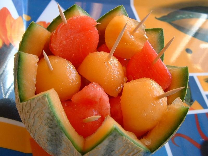 Brochette fraîche et légère au melon et à la pastèque
