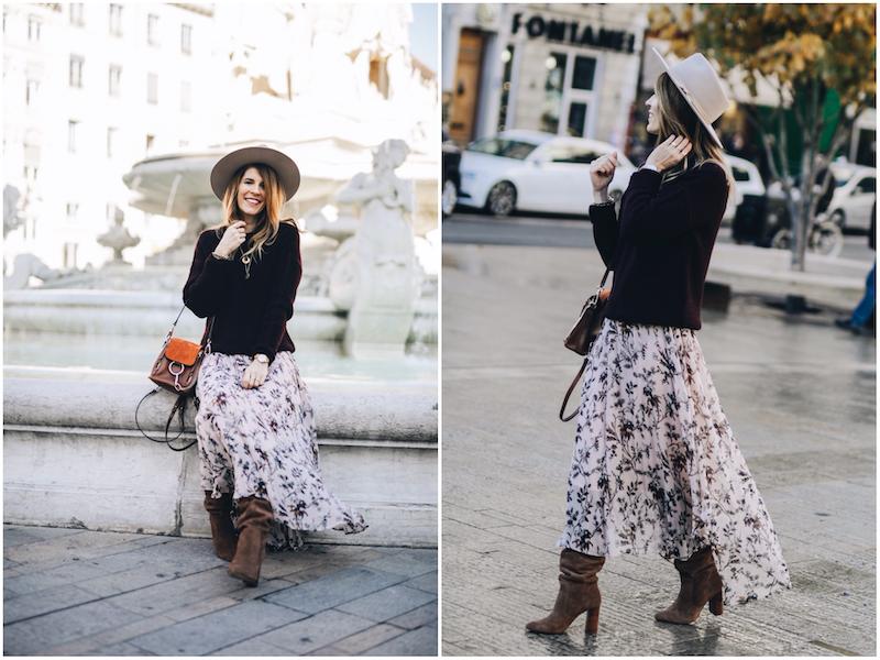 Mode automne 2020 : Look bohème rock avec robe longue portefeuille et bottines