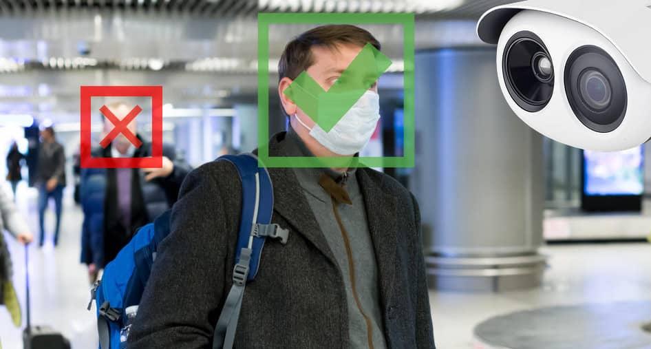 reconnaissance faciale : caméra de vérification du port du masque covid-19