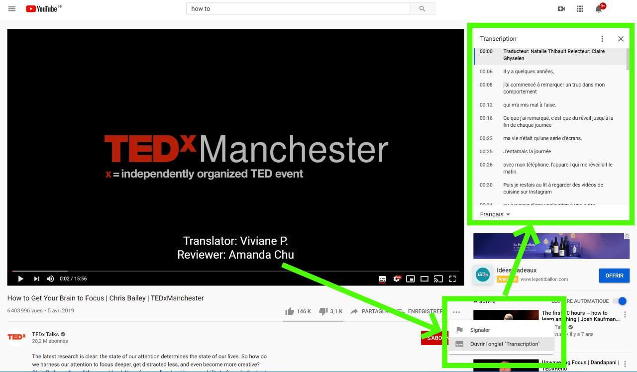 transcription automatique youtube